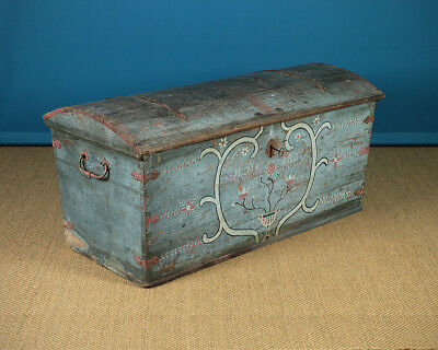 Antique Swedish Painted Marriage Chest dated 1818.