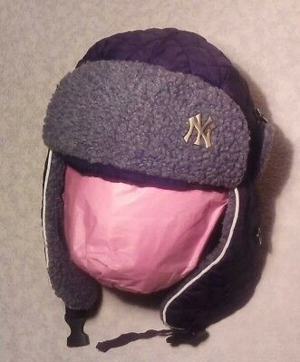 NEW ERA NEW YORK YANKEES MLB QUILTED FLEECE TRAPPER HAT ~ ONE SIZE (58cms) *VGC*
