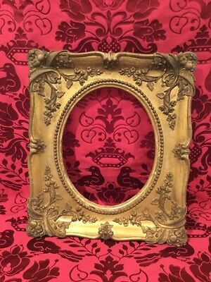 "ANTIQUE 1860s Picture FRAME FLORAL VICTORIAN Oval Gilt Gesso 8"" X 10"""