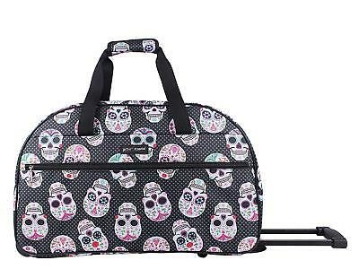 Betsey Johnson Skull Party Rolling Duffle Weekender Luggage Carryon Nwt Black