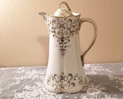 Antique I and E Co Japanese Porcelain Chocolate Pot Gold Gilding Early 1900's