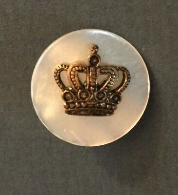 Openwork Metal Crown Antique Pearl Button Small Old