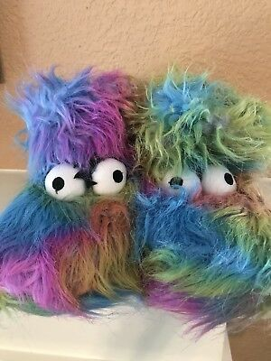 Big Eyes Furry Fluffy Monster House Slippers Kids Size Large(5-6)