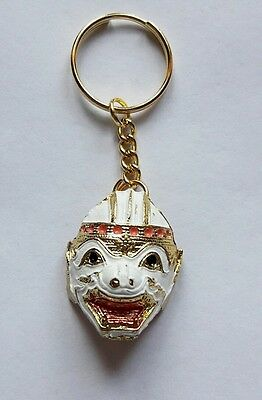 Thai Miniature Mask Khon Play Classical Ramayana Gold Enamel Key Ring Key Chain