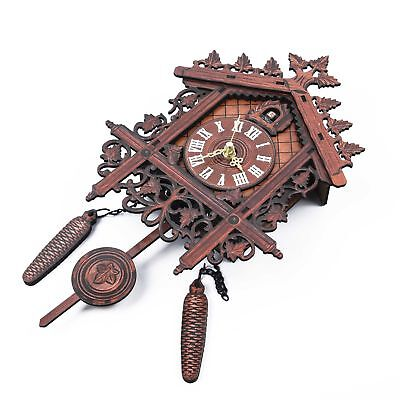 Vintage Wall Clock Handcraft Wood Cuckoo Clock Tree Swing Art Home 3D feeling