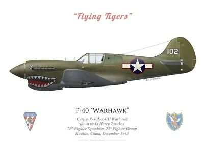 Print P-40K Warhawk, 23rd Fighter Group, 1943 (by G. Marie)
