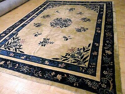 CHINESE RUG 9x12 RARE IVORY ANTIQUE PEKIN AUTHENTIC HAND-MADE ORIENTAL RUG 1890