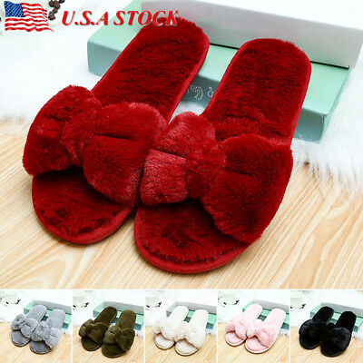 Women Lady Plush Open Toe Slippers House Fuzzy Soft Warm Terry Indoor Flat Shoes