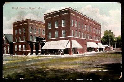 BUTLER, MO, Downtown PENNELL Hotel, Drug Store, Barber Pole, Missouri 1910