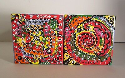 Two Unique Hand Painted Multi-Colored Abstract Tiles Or Coasters