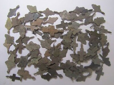 Metal detector finds.Mix lot  ancient crosses (The age of 18-19)100 pieces. N1
