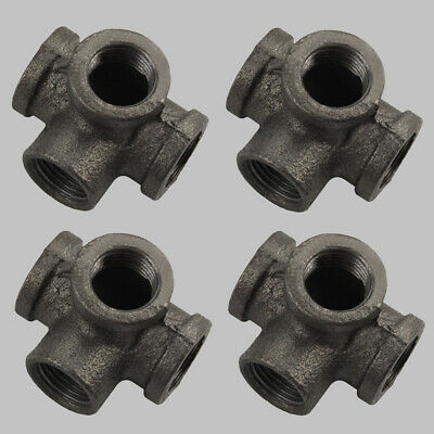 "1/2"" 4Way Side Outlet Tee Malleable Iron fitting pipe Decor Style NPT Black 4pc"