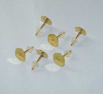 40pcs Flat Back Earring Studs Gold Plated 4/8mm Pad Posts with Rubber Stoppers