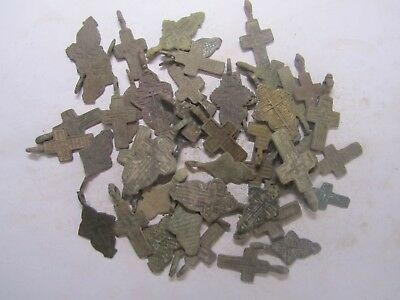 Metal detector finds.Mix lot  ancient crosses (The age of 18-19)50 pieces. N4