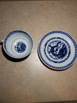 Vintage Chinese Rice Porcelain Small Small Blue-and-White Bowl - Tiny Trinket...