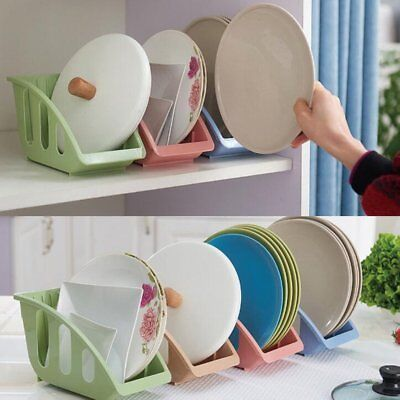 Hollow Out Drainage Storage Rack 5Slots Tableware Rack Dishes Plate Organizer O2