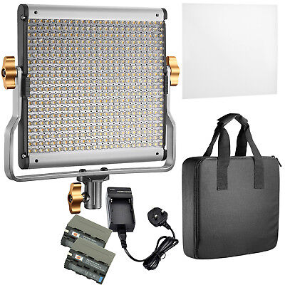 Neewer Dimmable Bi-color 480 LED Video Light CRI 96+ 3200-5600K with 2 Batteries