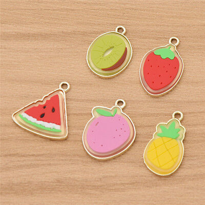 10Pcs/Lot Cute Fruit Cartoon Charms Enamel Allloy Pendant for DIY Jewelry Making