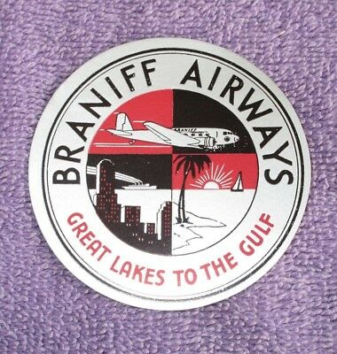 Vintage Airline Luggage Label*BRANIFF AIRWAYS*2.3/4 Circle*1940s-50s