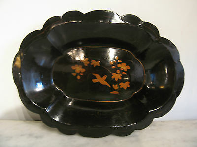 Antique Japanese Late Edo Early Meiji Period Paper Mache Lacquered Bowl