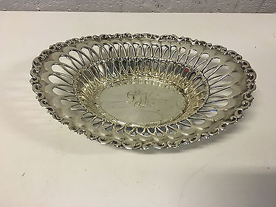 Antique Whiting Sterling Silver Pierced & Repousse Bowl / Dish Monogram LJL 3810