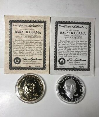 Barack Obama Coin With COA Layered In 24 Karat Gold & Layered In Pure Silver
