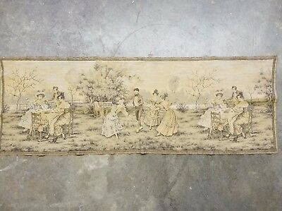 Vintage Possibly Antique Victorian Style Colored Tapestry of Gathering