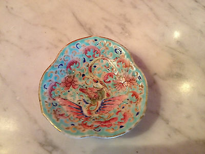 Antique Chinese Qing Dynasty Signed Porcelain Tazza w/ Dragon Phoenix & Bats