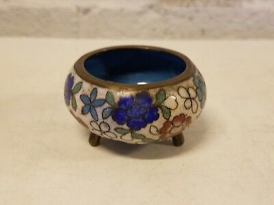 Antique Chinese Cloisonne Miniature Floral Decorated Incense Burner Censer
