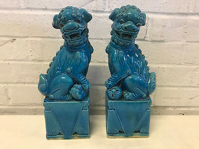 Vintage Chinese Export Pair of Turquoise Glazed Foo Dog Dogs Figurines Hong Kong