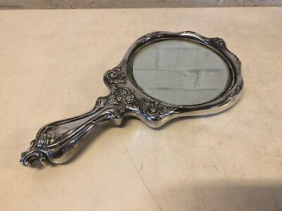 Antique Art Nouveau Silverplate Mirror with Floral & Woman Dec