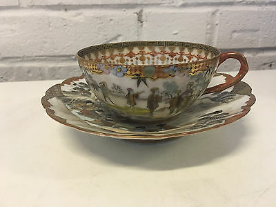 Antique Japanese Signed Likely Meiji Period Porcelain Cup & Saucer Figures Dec
