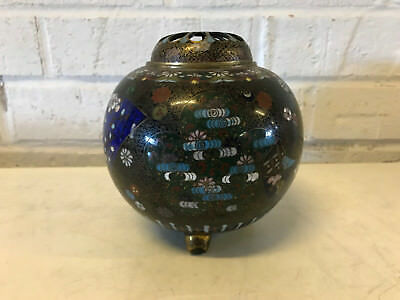 Antique Chinese Cloisonne Incense Burner Censer w/ Floral & Butterfly Decoration