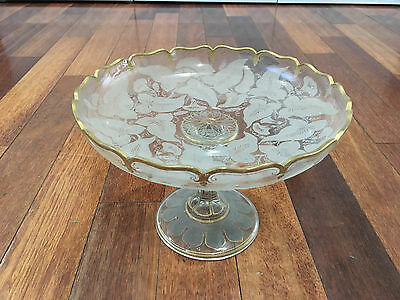 Vintage Possibly Antique Glass Centerpiece Compote w/ Gold & Leaf Decoration