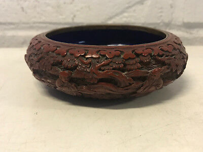 Antique Chinese Cinnabar Brush Washer Bowl Pot w/ Figures / Immortals
