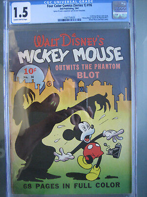 Four Color #16 1st Mickey Mouse CGC 1.5 Universal **Rare** Dell Publishing 1941
