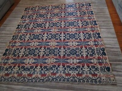 Antique 1842 JACQUARD coverlet PHILIP BYSEL OHIO ROOSTERS