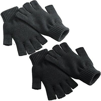New Mens Womens Ladies Thermal Fingerless Gloves Knitted Wooly Super Soft Mitts