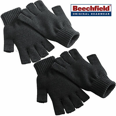 New Beechfield Mens Womens Ladies Thermal Fingerless Gloves Knitted Wooly Mitts