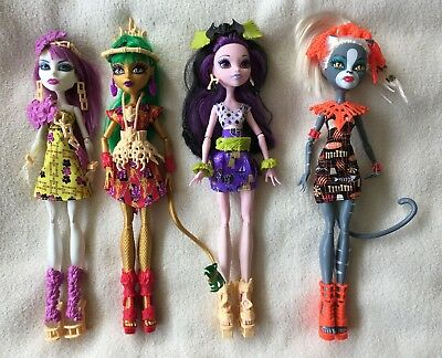 Monster High Ghouls Getaway Spectra, Jinafire, Elissabat, Meowlody Dolls