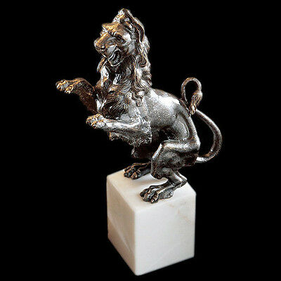 French Cast Iron Lion on marble base Sculpture Statue Reproduction Replica