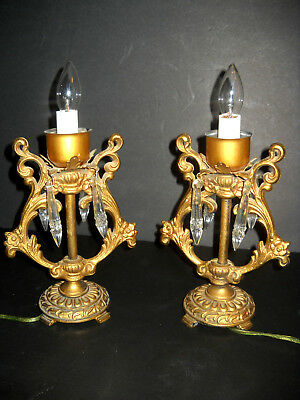 Pair of Vintage Meat Crystal / Cut Glass Bedside Table Lamps Antique Art Deco