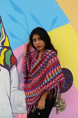 Handmade Womens Mexican Poncho Sweater Shawl Striped Cotton Gift for Her
