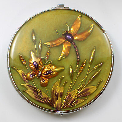 Jeweled antique look dragonfly, butterfly compact mirror, enamel crystals in grn