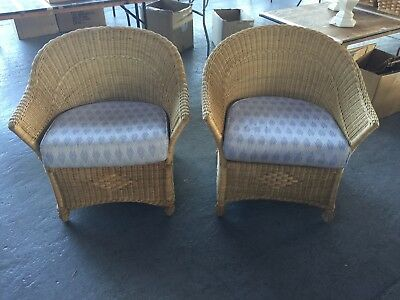 Pair Of Vintage Wicker Arm Chairs Boho Chic