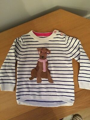 Joules Girl's Navy/white Striped Dog Jumper Size 12-18 Months