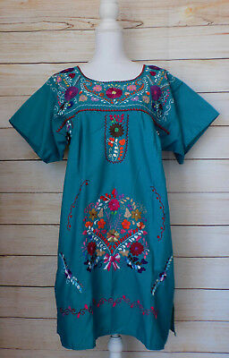 Women Mexican Dress Large XL X-Large Blue Teal Peasant Floral Embroidered Fiesta