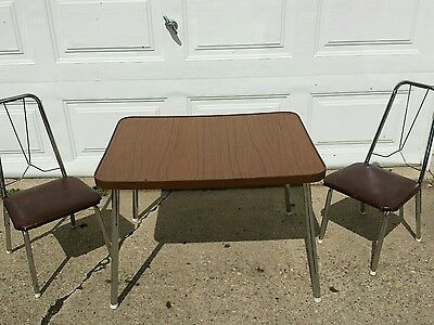 VINTAGE  Retro  Mid Century Table And Chairs set children kids Chrome legs USA