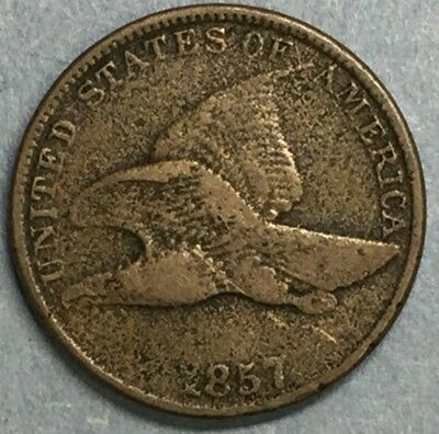 1857 Philadelphia Mint Copper-Nickel Flying Eagle Cent Great Type Coin #A302
