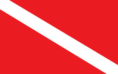 "Dive Flag Sticker Red White Decal for scuba divers Set of FOUR  2""x3"" #736"